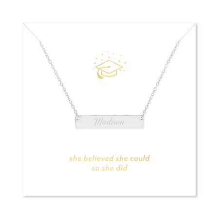 She Believed She Could So She Did Graduation Silver Name Bar Necklace