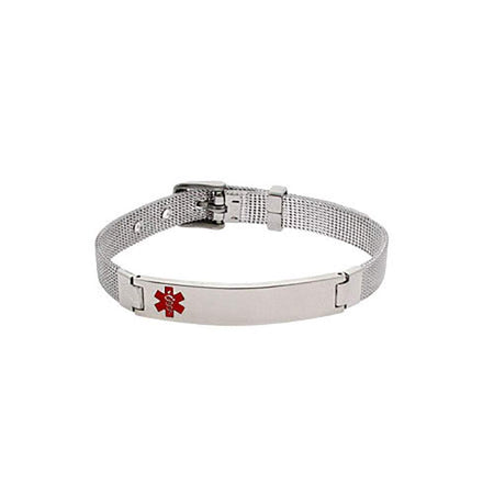 display slide 1 of 1 - Engravable Emergency Medic ID Mesh Bracelet - selected slide