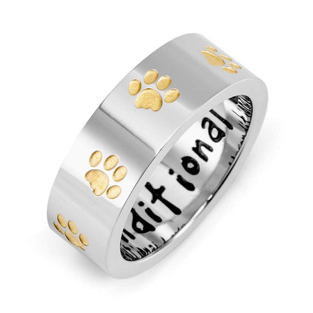 display slide 1 of 2 - Unconditional Love Stainless Steel Golden Paw Print Ring - selected slide
