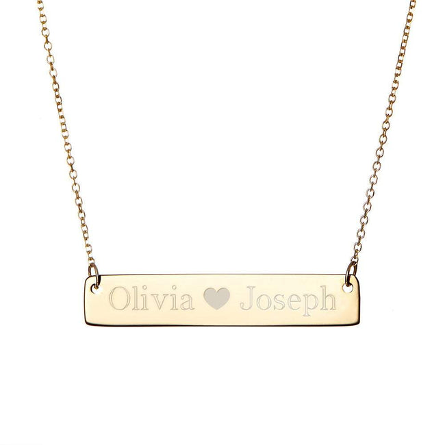 Couple's Gold Name Bar Necklace with Heart Detail