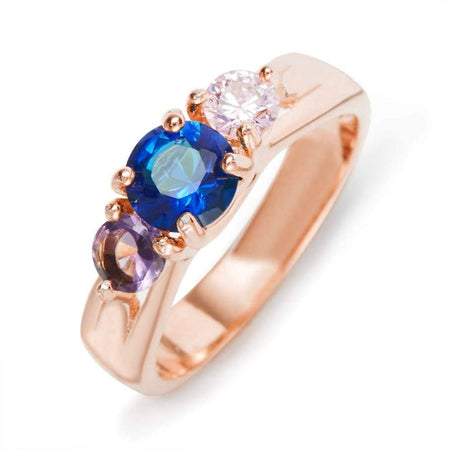 3-Stone Customized Birthstones Ring in Rose Gold Swirl Band