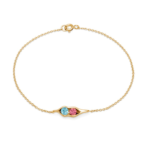 Gold Plated 2 Stone Birthstone Peas In A Pod Bracelet