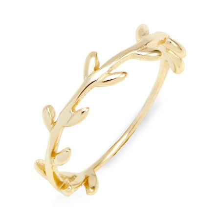Gold Plated Silver Leaf Branch Ring And Stackable Band