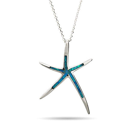 Opal Inlay Starfish Sterling Silver Pendant