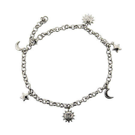 display slide 1 of 1 - Sun, Moon, and Stars Anklet in Sterling Silver - selected slide
