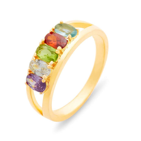display slide 1 of 4 - Split 5 Stone Gold Birthstone Ring with Dual Ring Setting - selected slide