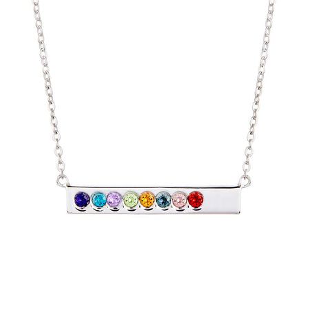 8 Stone Birthstone Silver Name Bar Necklace
