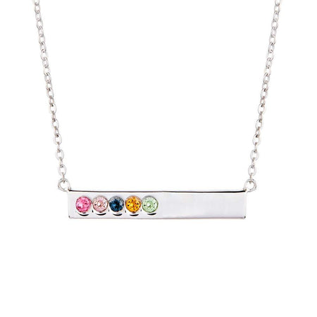 5 Birthstone Silver Name Bar Necklace