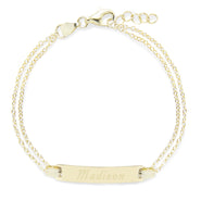 Engravable Gold Baby Name Bar Bracelet