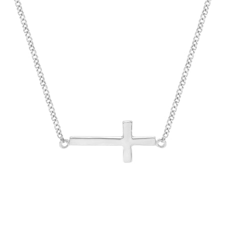 Petite Sideways Cross Necklace in Sterling Silver