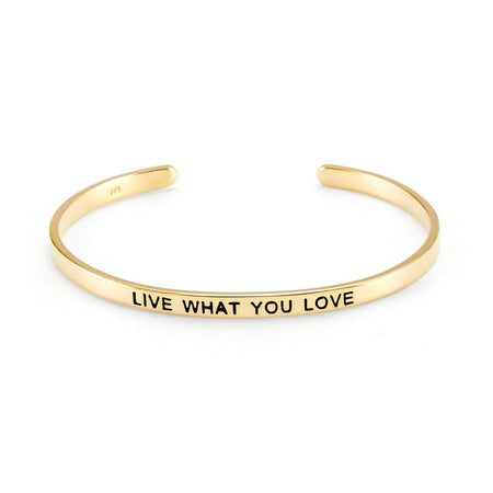 Live What You Love Gold Message Bangle | Eves Addiction
