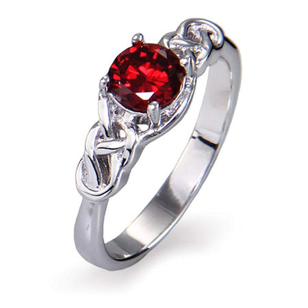 Celtic Sterling Silver Trinity Knot CZ Stone Ring
