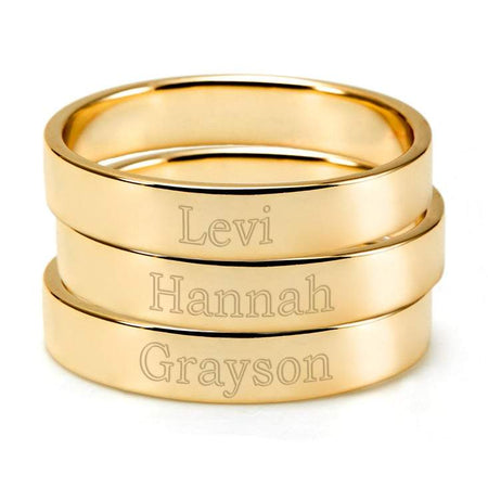 Engravable Three Gold Stacking Rings