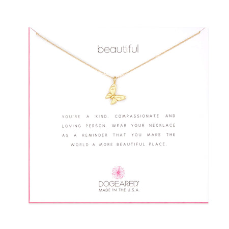 Dogeared Beautiful Enchanted Butterfly Gold Necklace