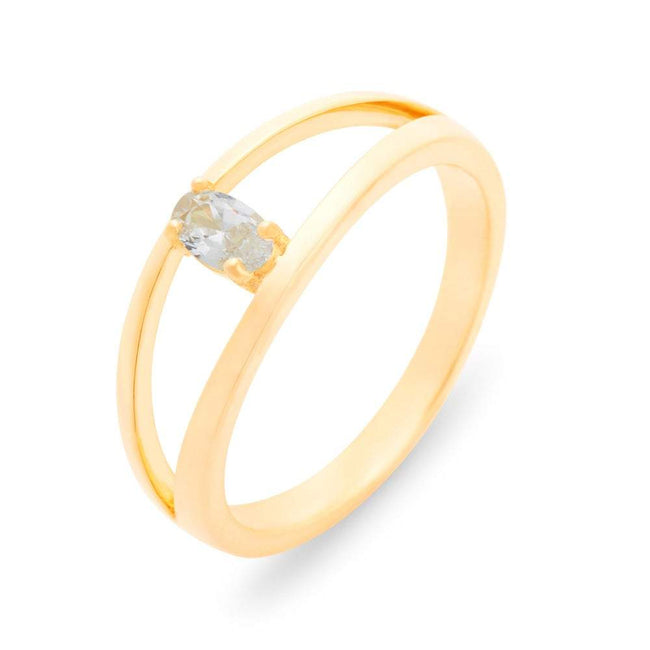 Split 1 Stone Gold Birthstone Ring with Dual Ring Setting