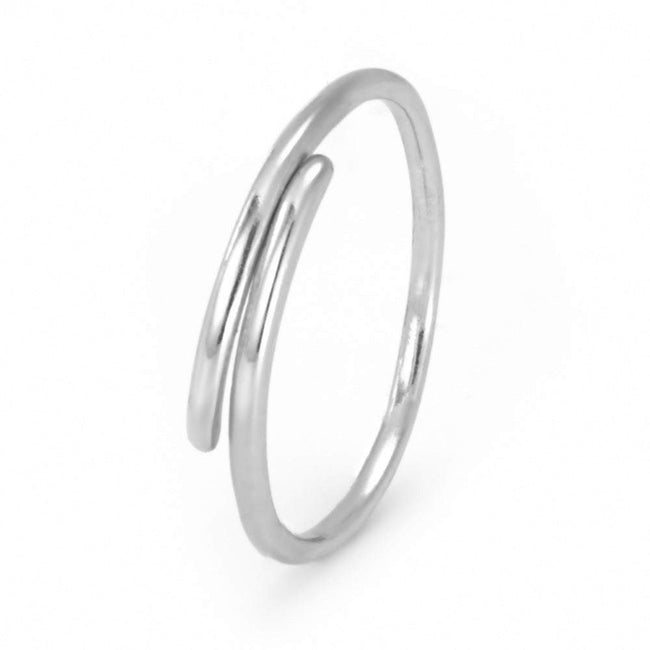 Sterling Silver Petite Thin Crossover Ring