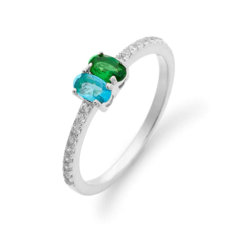 2 Stone Oval Birthstone Pave Band Silver Ring