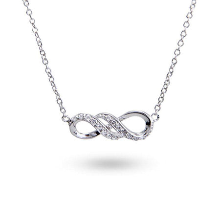 Sterling Silver CZ Infinity Necklace