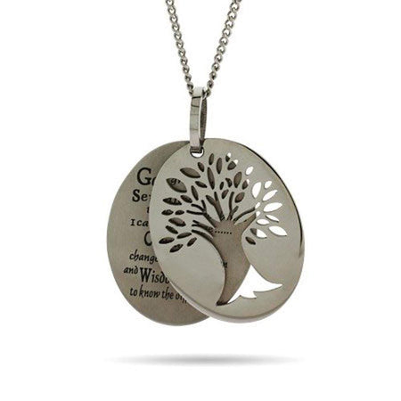 Engravable Serenity Prayer Tree of Life Necklace