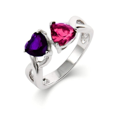 Custom Heart Infinity Ring with Two Birthstones | Eve's Addiction®
