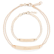 Mom & Baby Engravable Rose Gold Name Bracelet Set