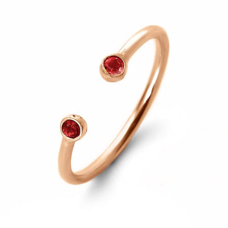 Rose Gold Dual Birthstone Ring   Eve's Addiction®