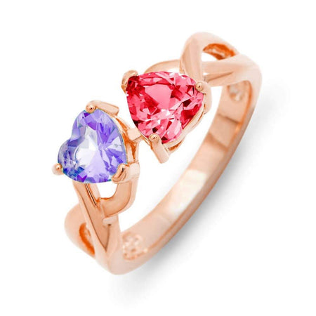display slide 1 of 4 - Double Heart 2-Stone Heart Birthstone Band in Rose Gold - selected slide