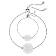 Mom & Baby Monogram Silver Disc Bolo Bracelet Set