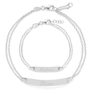 Mom & Baby Engravable Silver Name Bracelet Set