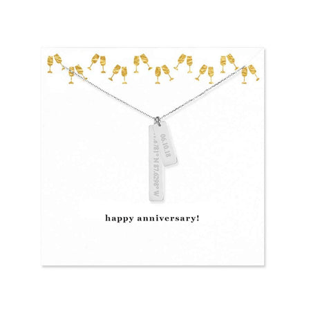 display slide 1 of 1 - Happy Anniversary Coordinate and Date Vertical Bar Necklace - selected slide