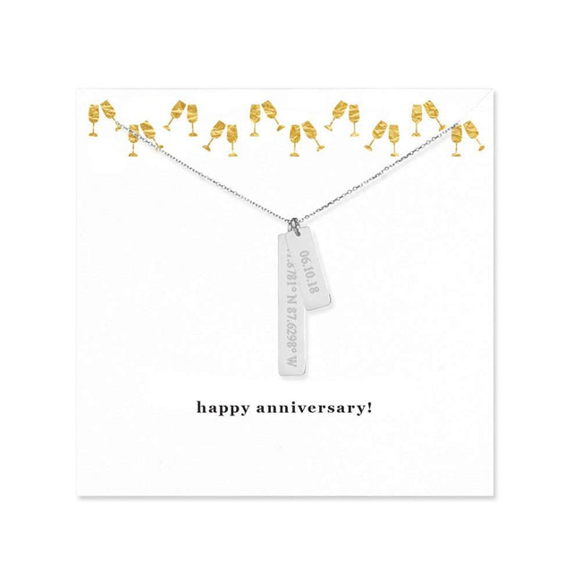 Happy Anniversary Coordinate and Date Vertical Bar Necklace