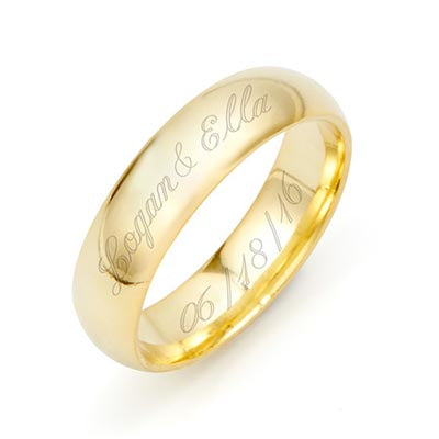 Men's Gold 5mm Engravable Ring