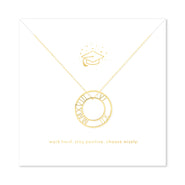 Inspirational Graduation Gold Roman Numeral Circle Pendant