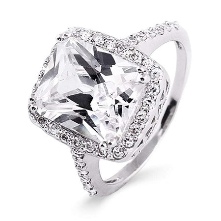 Celebrity Inspired Diamond CZ Silver Engagement Ring