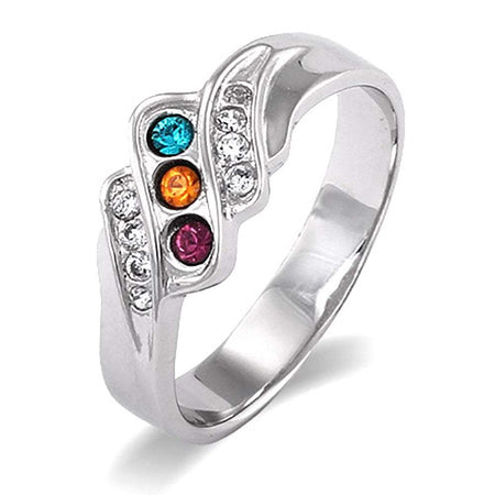 Three Stone Crystal Wave Design Mother's Ring