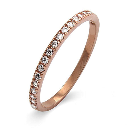 Thin Pave CZ Rose Gold Vermeil Stackable Ring