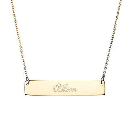 Engraved Gold Plated Petite Bar Necklace