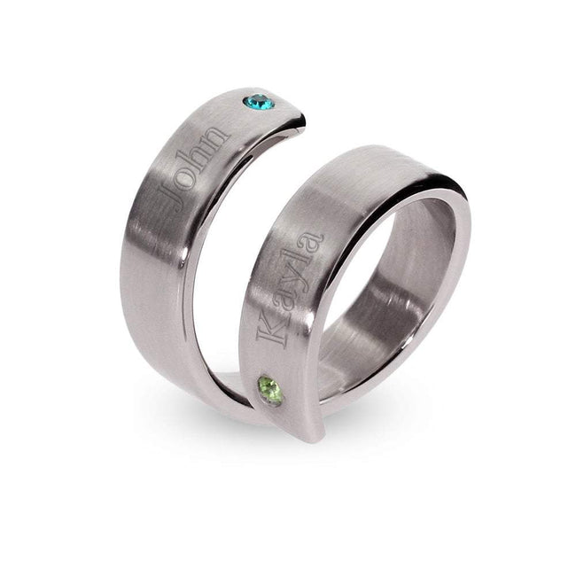 Name Engraved 2 Birthstone Couples Ring