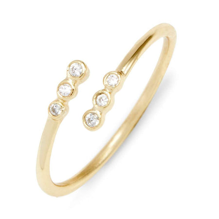 Crossover CZ Bezel 3 Stone Gold Open Center Stackable Ring
