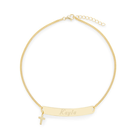 Engravable Gold Name Bar Anklet with Cross Charm