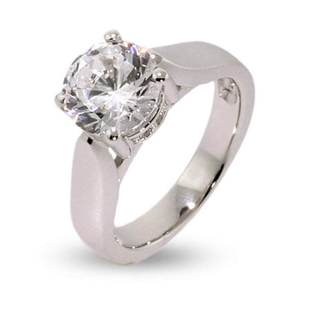 display slide 1 of 2 - Classic Solitaire CZ Sterling Silver Engagement Ring - selected slide