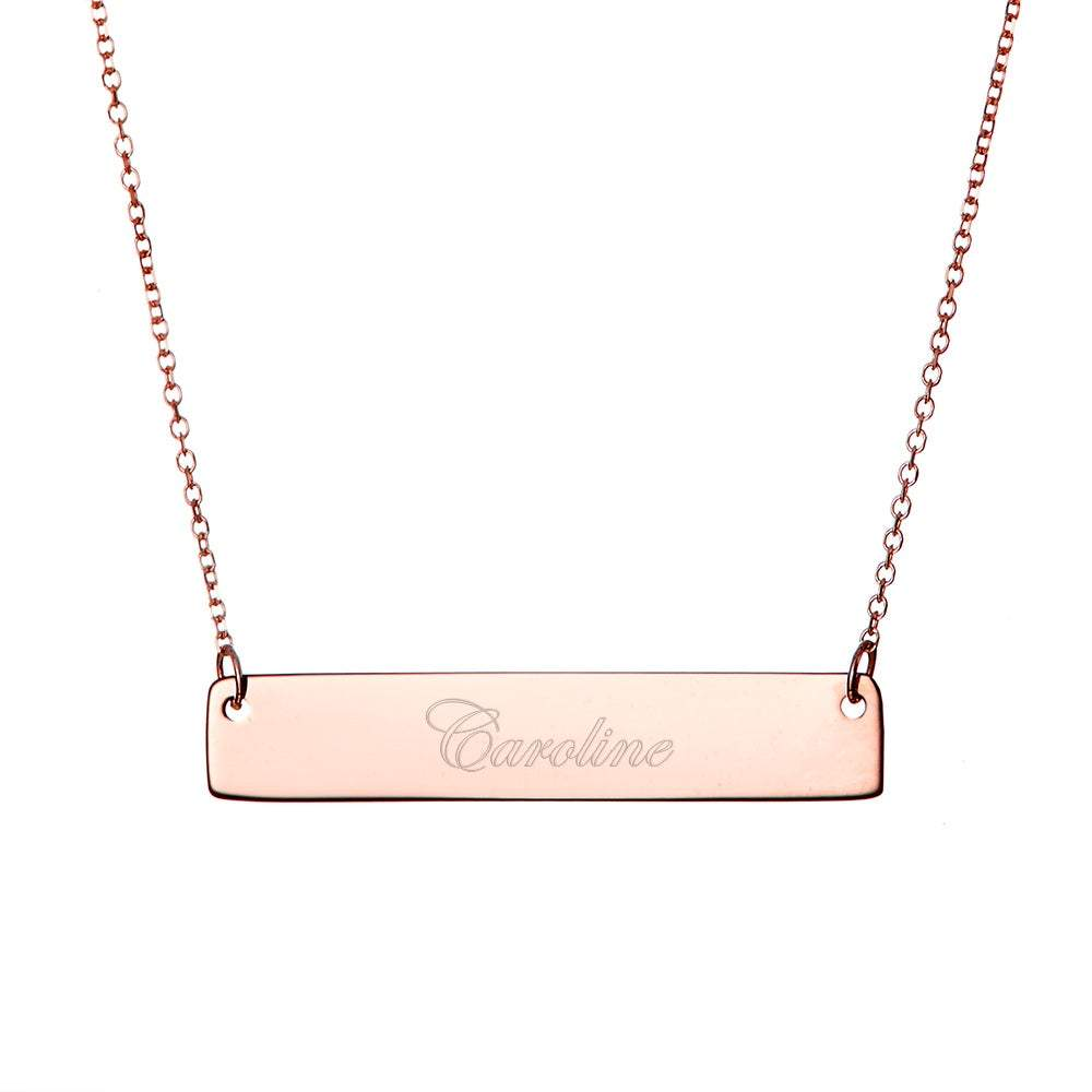 """Personalized 1.25/"""" Name Bar pendant Necklace in Rose Gold Plated silver"""