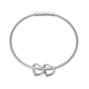 2 Heart Engravable Stainless Steel Charm Bracelet