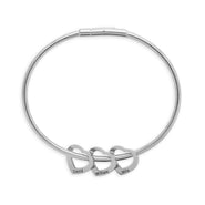 3 Heart Engravable Stainless Steel Charm Bracelet