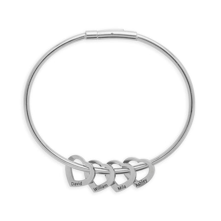 display slide 1 of 2 - 4 Heart Engravable Stainless Steel Charm Bracelet - selected slide
