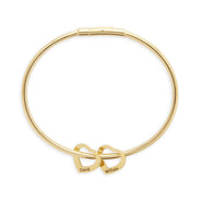 2 Heart Engravable Gold Plate Stainless Steel Charm Bracelet