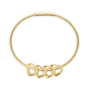 4 Heart Engravable Gold Plate Stainless Steel Charm Bracelet