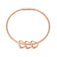 3 Heart Engravable Rose Gold Plate Stainless Steel Charm Bracelet