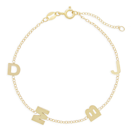Gold Plated Sideways 4 Initial Bracelet