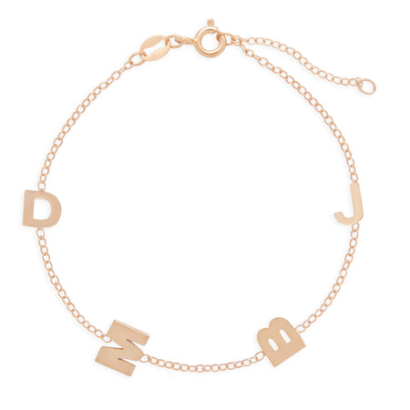 Rose Gold Plated Sideways 4 Initial Bracelet